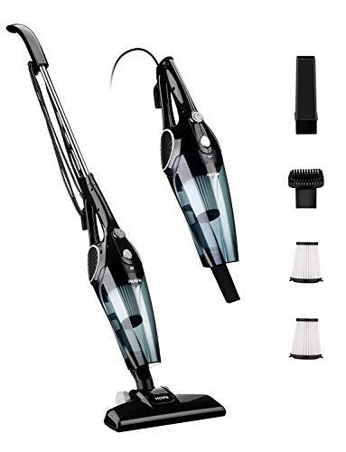 Holife Aspiradora Escoba de 12Kpa, Aspirador Vertical 2 en 1, 800ml, con 2 Filtros HEPA Lavables y 3 Cepillos, Vertical y Portátil Ajustable [Clase de eficiencia energética A+] (Negro)
