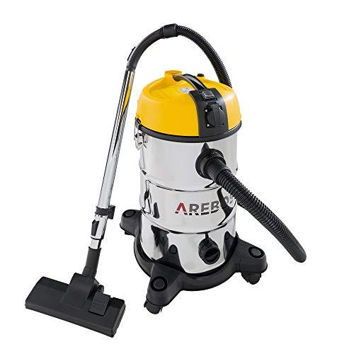 Arebos - Aspiradora Industrial para Superficies secas y húmedas   2300 W   30 L   Color Amarillo
