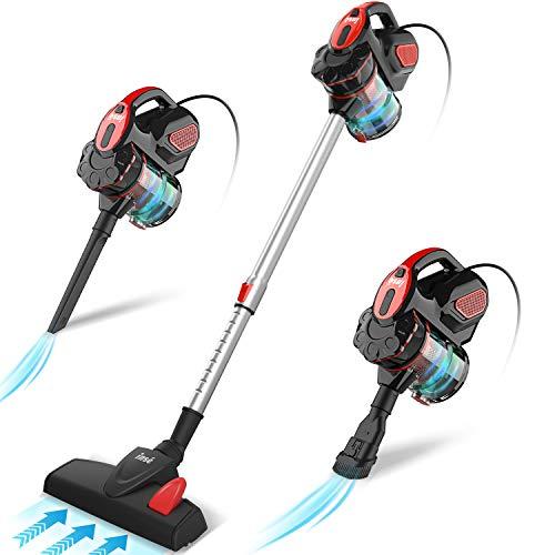 INSE Aspirador con Cable, 3 En 1 Vertical y de Mano, Hogar Escopa Aspiradora, Poderosa Succión 18Kpa, 600W, 1L, Hepa Filtro Lavable, 3 Cepillos Ajustable [Clase de Eficiencia Energética A+]