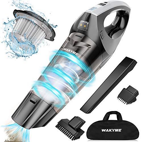 WAKYME Aspiradora de Mano, 9KPA Aspirador Mano Sin Cable Potente, Carga rápida USB Aspiradoras en Seco y Húmedo, Luz LED, Batería de 2500mAh, Completo para Oficina Hogar y Coche