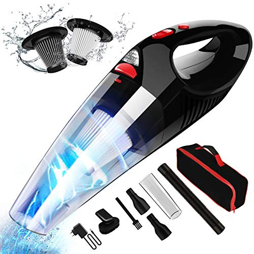 RIKIN Aspirador de Mano 8500PA 120W Aspiradora de Coche Sin Cable Carga Rápida Potente Filtro de Acero Inoxidable Accesorio Completo y Bolsa de Transporte para Hogar y Coche