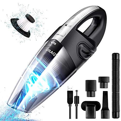 URAQT Aspiradora de Mano, 120W Aspirador Mano Sin Cable Potente, Carga rápida USB Aspiradoras en Seco y Húmedo, Batería de 2200mAh,Filtro Lavable, Accesorio Completo para Oficina, Hogar, Coche